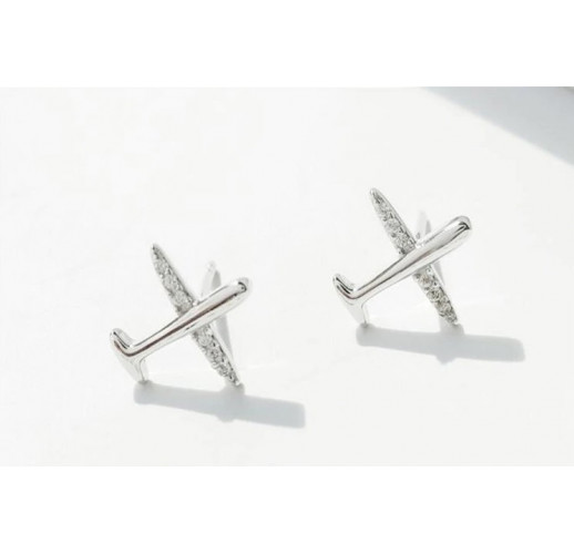 Серёжки Plane Earrings, Silver 925